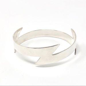 Sterling Silver Lightning Bolt Bangle Bracelet